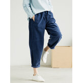 Plus Size Pure Color Elastic Waist Corduroy Pants