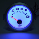 New Electrical Oil Pressure Gauge White Face Blue LED