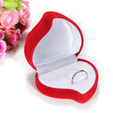 1 Dubbel Ring Box Fluweel Rood Heart Flower Shaped Jewelry Opbergcase