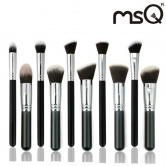 MSQ 10Pcs Black Goat Hair Makeup Cosmetic Brushes Set Kit