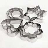 12 Pcs Stainless Steel Flower Heart Biscuit Cake Cookied Mould Cutter