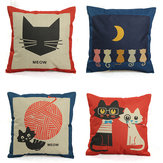 Linen Cute Cartoon Cat Pillow Case Sofa Decorative Cushion Cover