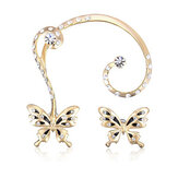 18-karatowe pozłacane Rhinestone Butterfly Ear Clip Stud Earrings Jewelry