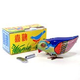 Vintage Wind Up Bird Pecking Tin Mechaniczna zabawka
