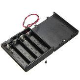 4 X AA Batterie Halter Gehäuse Geschlossene Box OFF / ON Schalter mit Kabel