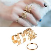 3 stk Hollow Out Blade Band Midi Knuckle Finger Rings Set Forgyldt