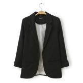 Casual Solid Color No Button Turn Down Neck 3/4 Sleeve OL Blazer Suit
