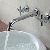Latão cromado moderno parede montada 3 furos banheira torneira torneira
