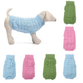 Solid Color Pet Dog Cat Knitted Breathable Warm Sweater Winter Outwear