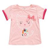 2015 nouveau petit maven été bébé fille enfants chat rose coton top à manches courtes