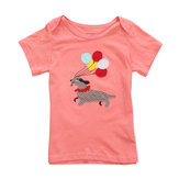 2015YeniKüçükMavenBebekKız Çocukları Köpek Kırmızı Pamuklu Kısa Kollu T-shirt Üst