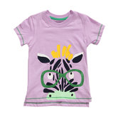 2015 New Little Maven Summer Baby Girl Child Zebra Rosa Camiseta de manga corta de algodón Camiseta