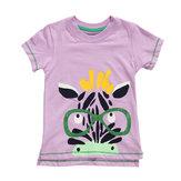 2015 Yeni Küçük Maven Yaz Bebek Kız Çocuk Zebra Pembe Pamuk Kısa Kollu T-shirt Tee