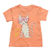 2015 New Little Maven  Baby Girl Children Cat Orange Cotton Short Sleeve T-shirt