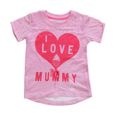 2015 New Little Maven Summer Baby Girl Children Heart Pink Cotton Short Sleeve T-shirt