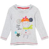 2015YeniKüçükMavenYazBebek Kız Çocuk Çizgi Gri Pamuk Uzun Kollu T-shirt