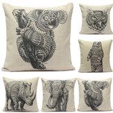 Lençóis de algodão padrão animal fronha lance capa de almofada de sofá-cama