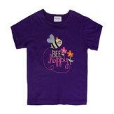 Bambini della neonata estiva Bee Maglietta viola del manicotto del bicchierino del cotone