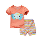 2015 New Little Maven Baby Girl Children Summer Set Short Sleeve Orange T-shirt Top+Plant