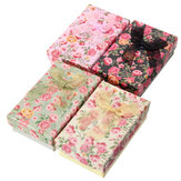 Flower Bowknot Necklace Kolczyki Ring Jewelry Gift Paper Box Case