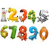 16 pollici in alluminio animale numero palloncini compleanno partito decorazione in foil