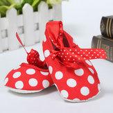 Neugeborene Mädchen Baby Säuglingskleinkind Bogen Punkt Kinderbett Pram weiche Sohle Schuhe