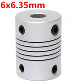 6mm x 6.35mm Aluminum Flexible Shaft Coupling OD19mm x L25mm CNC Stepper Motor Coupler Connector