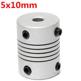 5mm x 10mm Aluminum Flexible Shaft Coupling OD19mm x L25mm CNC Stepper Motor Coupler Connector
