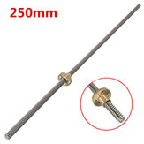 T8 250mm Lead Screw 8mm Thread 2mm Pitch Lead Screw with Brass Nut