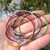 Rimix Stainless Steel PVC Insulated Rubber Overstretches Wire Circle Colorful Keychain Key Ring