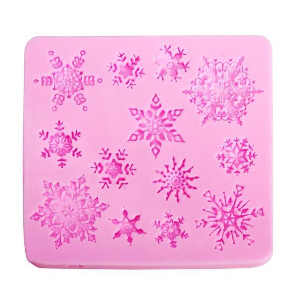 Christams Silicone Snowflakes Bánh Khuôn Xmas Fondant Bánh trang trí Khuôn