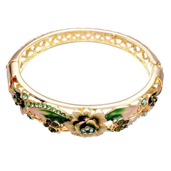 Retro 18K Gold Plated Rhinestone Bracelets Elegant Butterfly Flowers Bangle Bracelet For Women