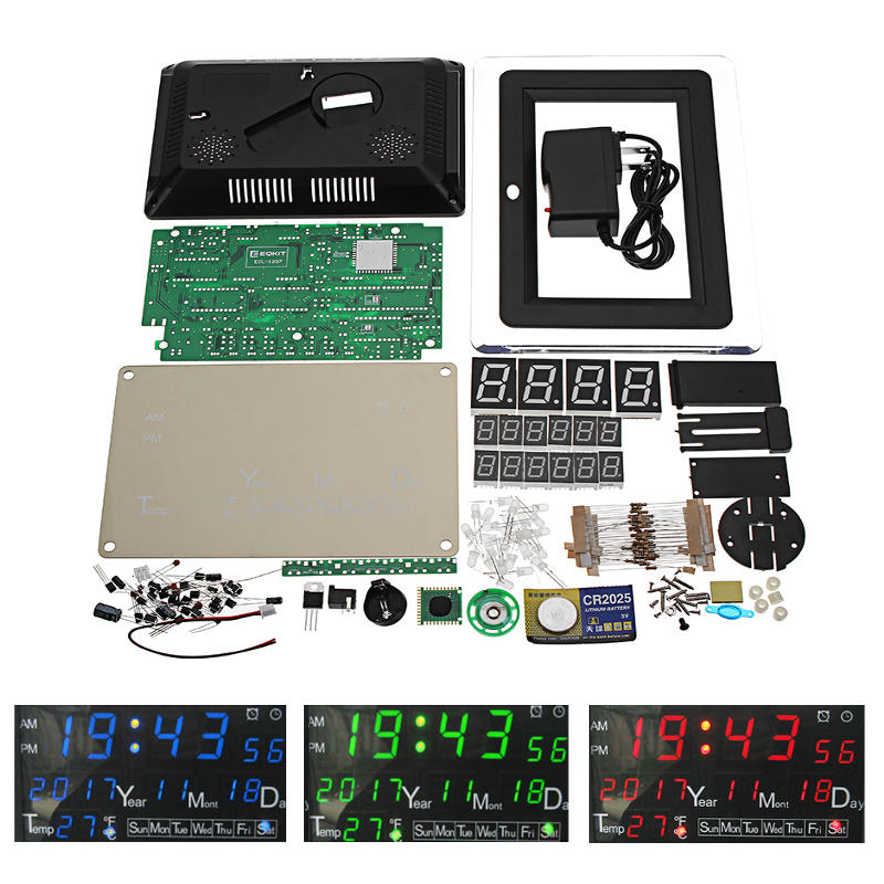 EQKIT® DC9-12V Electronic Calendar Soldering Kit High Precision DIY Clock Kit ECL-1227 12/24 Hour C/F Switchble