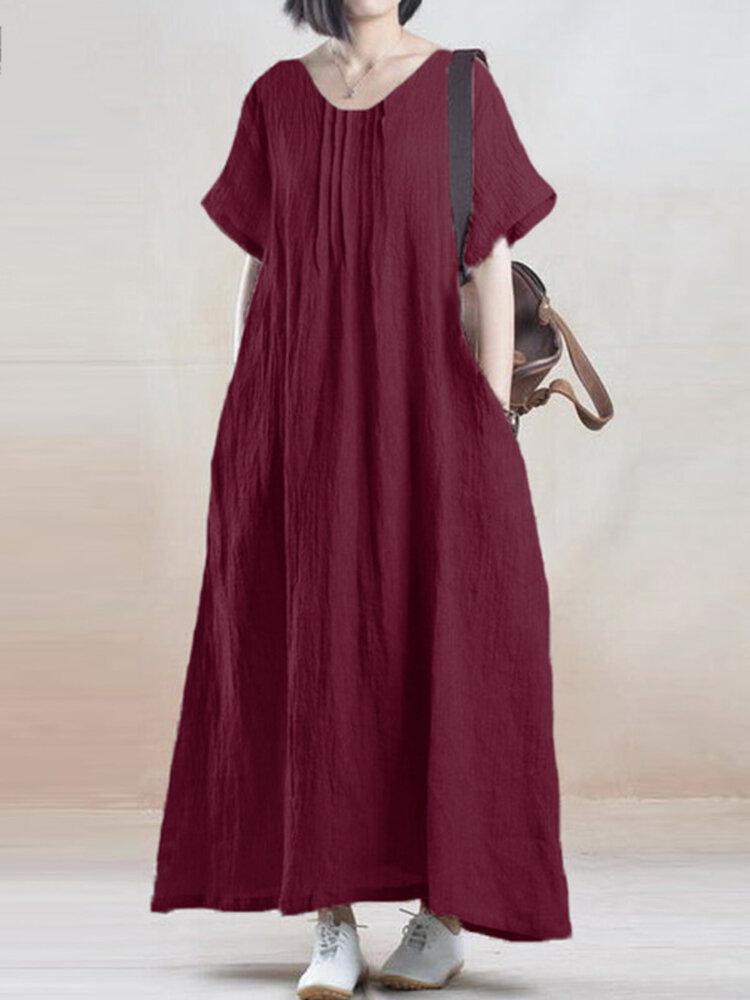 आरामदायक विंटेज Pleat शुद्ध रंग मैक्सी पोशाक