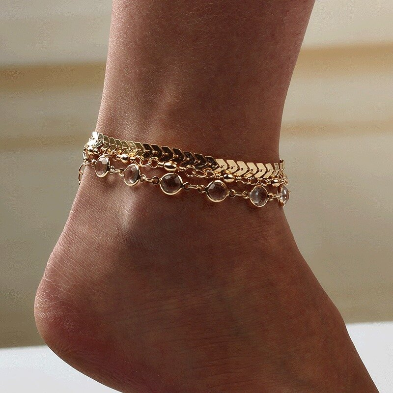 Stylish Arrow-studded 3 Pieces/ Set Gold Alloy Rhinestone Anklet For Women