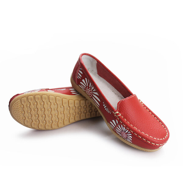 Women Flats Shoes Comfortable Slip-On Soft Casual Flower Floral Leather Loafers Flats Shoes фото