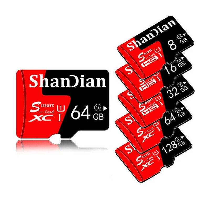 ShanDian High Speed 8GB-256GB Class 10 SD/TF Memory Card Flash Drive With Card Adapter For iPhone 12 For Samsung Galaxy