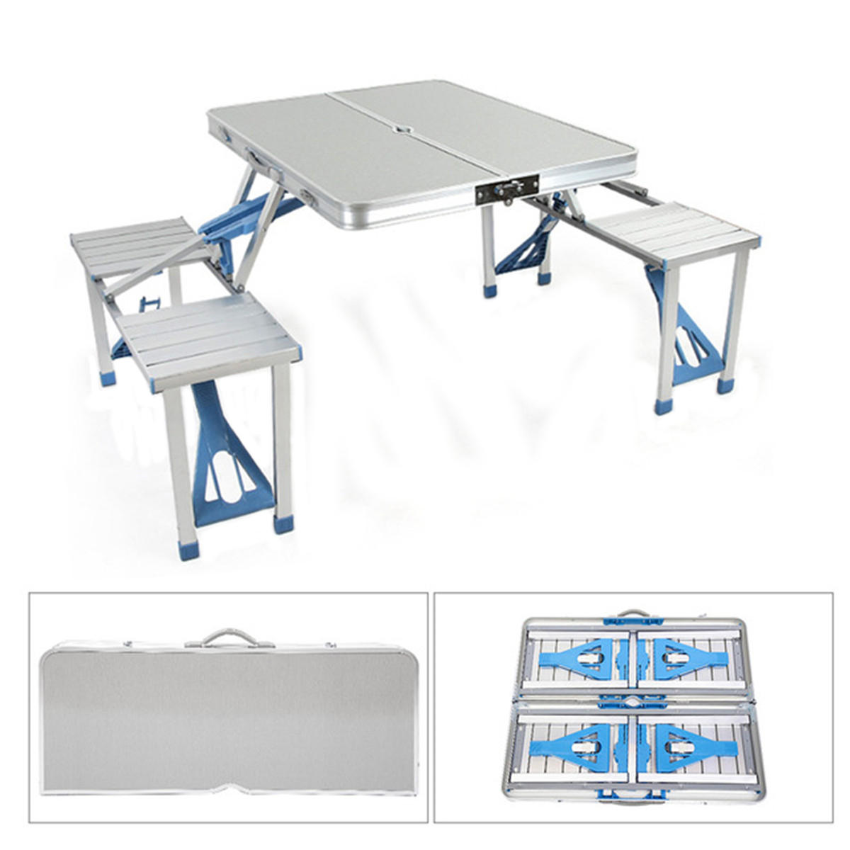 PICNIC TABLE /& 4 CHAIRS OUTDOOR ALUMINIUM PLASTIC FOLDABLE PORTABLE CAMPING BBQ