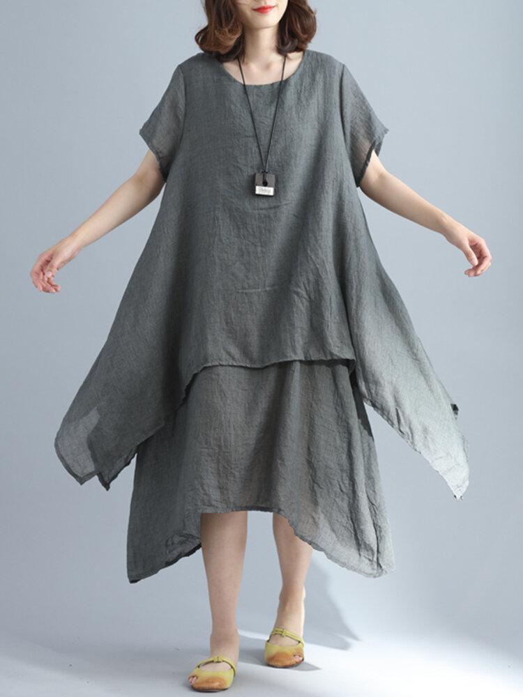 女性コットンリネンソリッドカラー半袖レイヤー不規則な裾のドレス