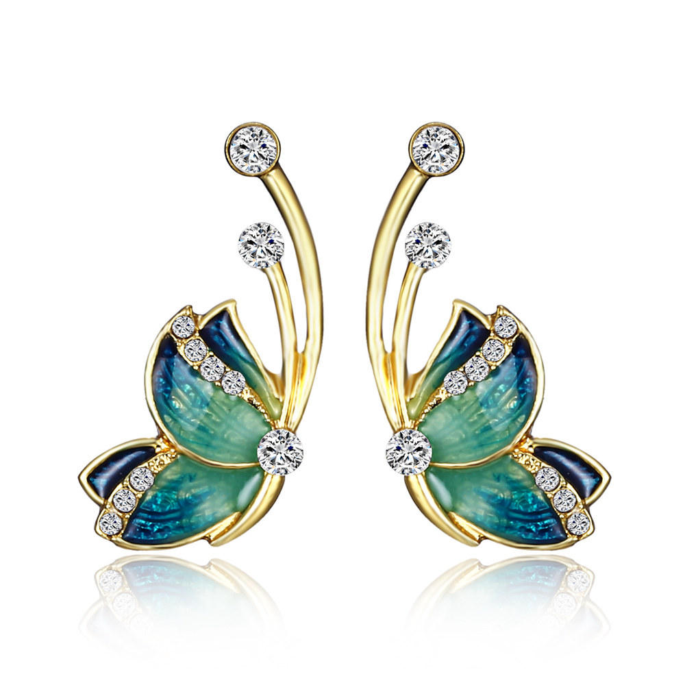 Luxury Butterfly Gold Earring Sweet Ceramic Rhinestones, Banggood  - buy with discount