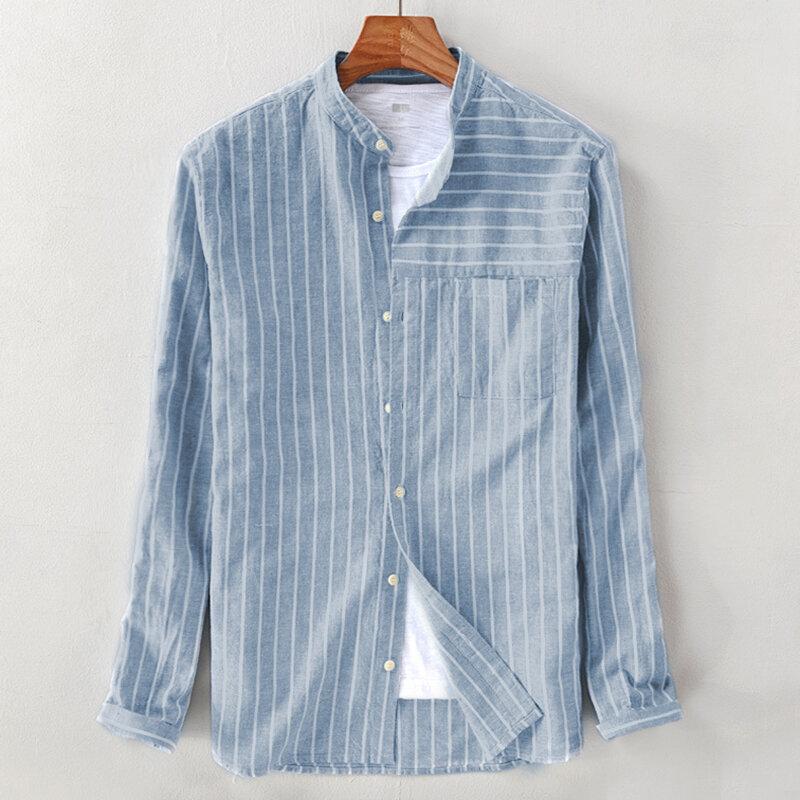 Erkek Vintage Pamuk Nefes Çizgili Gevşek Rahat Uzun Kollu Casual Gömlek