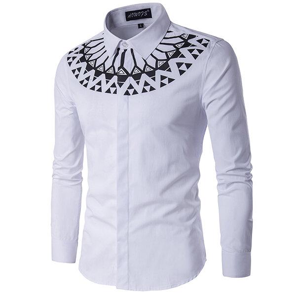 Modeutskrift Slim Fit Långärmad Män Vit Skjorta Plus Storlek XS-3XL