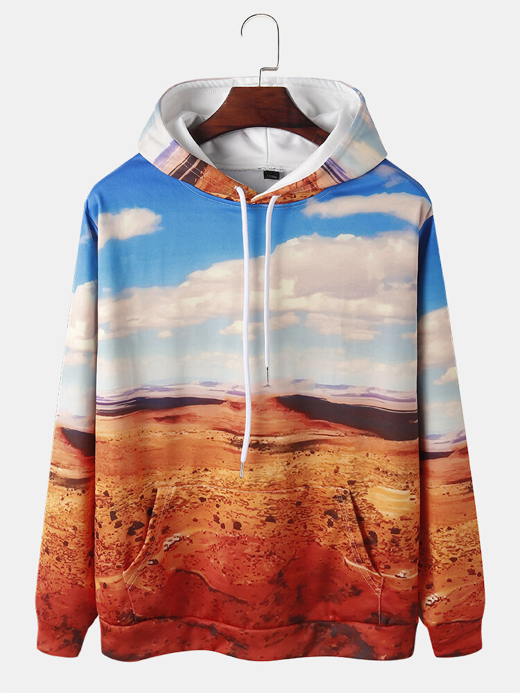 Mens Allover Desert Scenery Print Drawstring Hoodies With Pouch Pocket