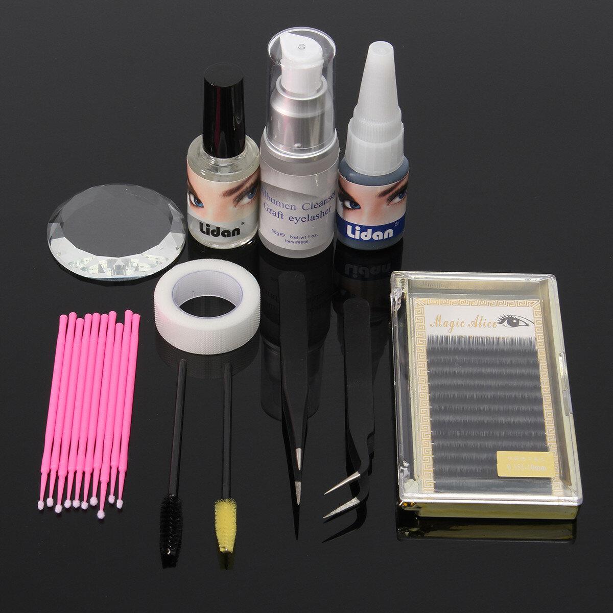 d2e6492a940 11pcs eyelash extension set individual tweezers glue eye lash brush mascara  applicator makeup case at Banggood