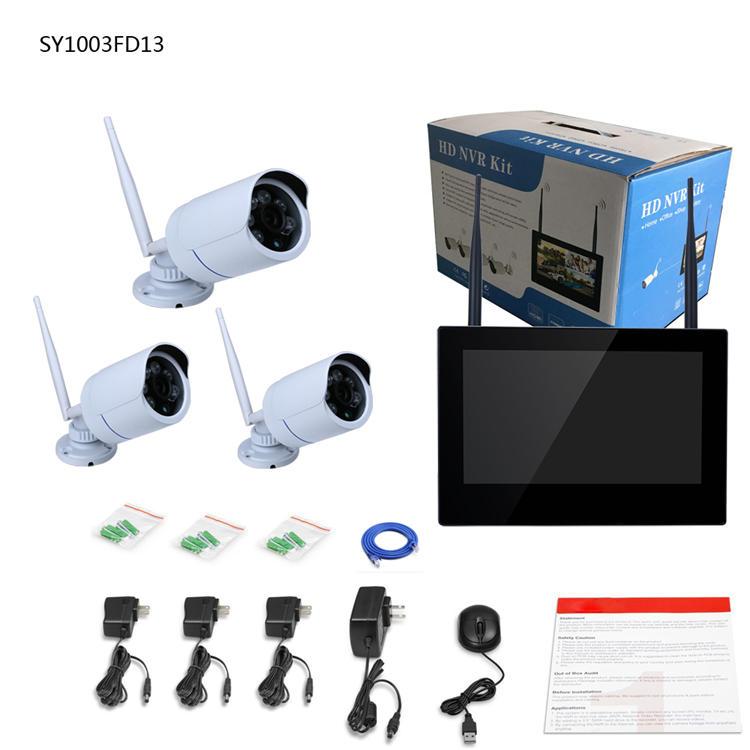 ENNIO SY1003FD13 10 inch TFT 4CH 960P Wireless DVR Video Security Three Waterproof Bullet IP Cameras
