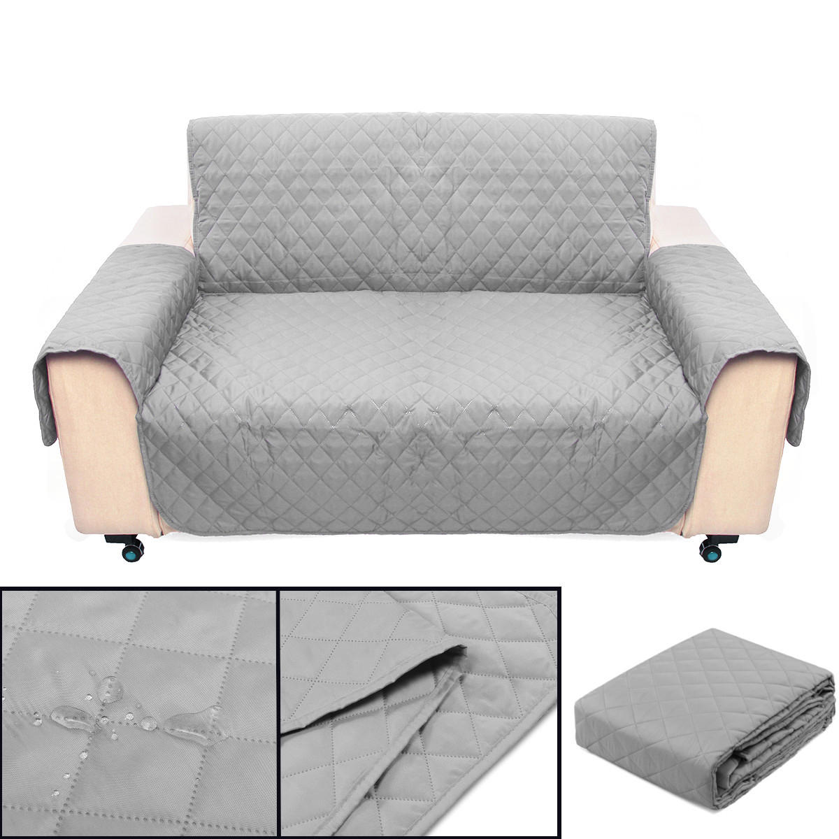 Light Gray 2 Seater Pet Sofa Couch Protector Cover Removable W/Strap Waterproof Sofa Seat Covers