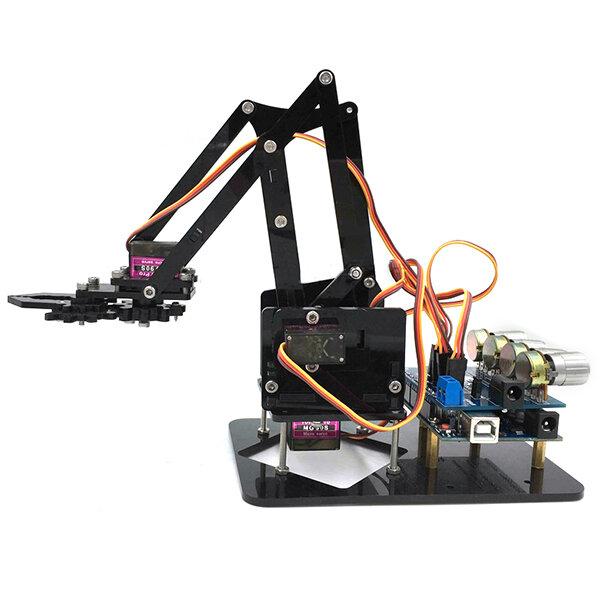 URUAV DIY 4DOF रोबोट आर्म 4 एक्सिस एक्रिलिक घूर्णन मैकेनिकल रोबोट आर्म Arduino R3 4PCS सर्वो के साथ