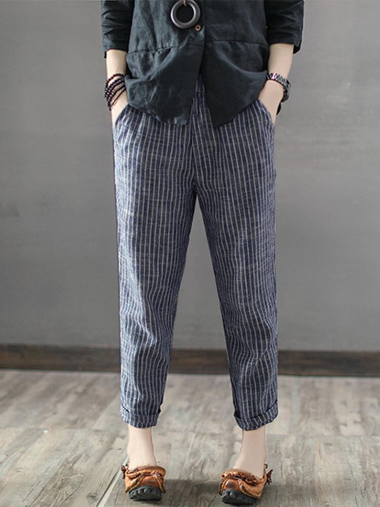 Women Striped High Waist Long Harem Pants Loose Trousers