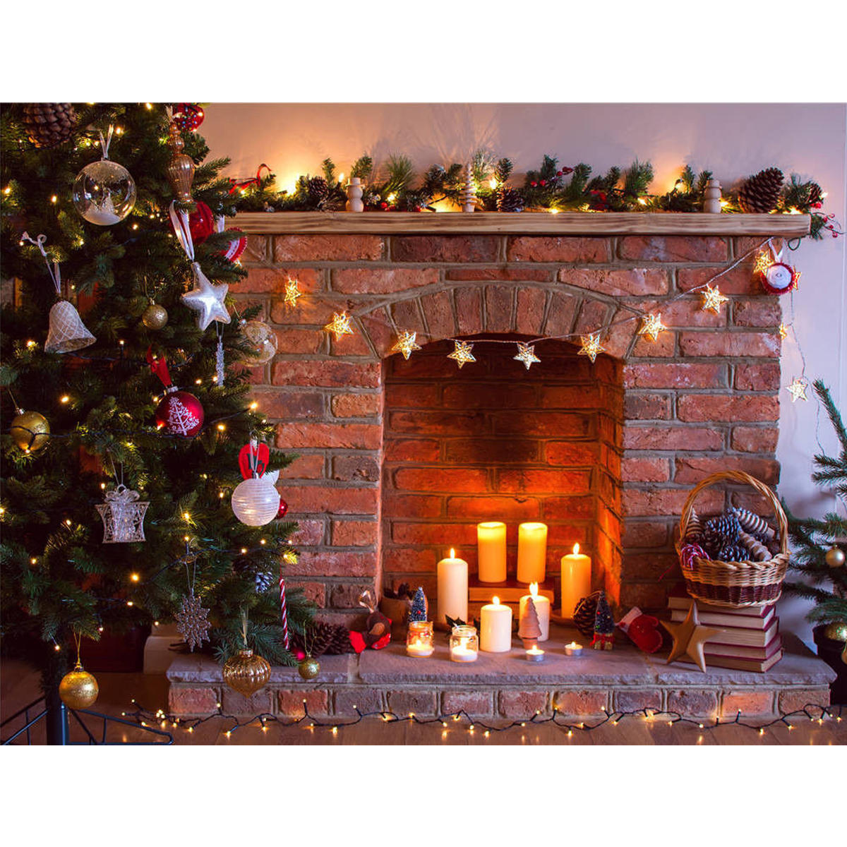 Retro Christmas.7x5ft Vinyl Retro Christmas Tree Fireplace Photography Background Backdrop Props Studio