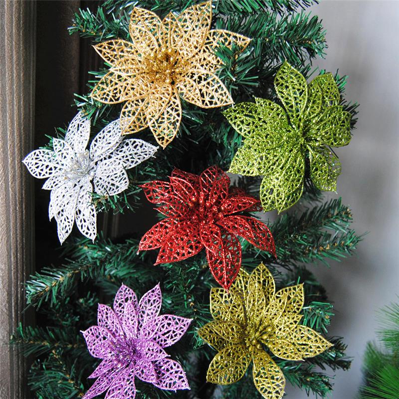 क्रिसमस पेड़ के लिए 10 पीसी क्रिसमस चमक खोखले फूल सजावट फूल नए साल की सजावट वेडिंग पार्टी सजावट